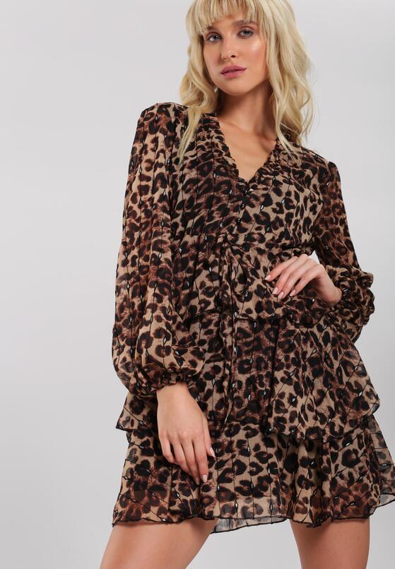 Коричнева Сукня з Леопардовим Принтом