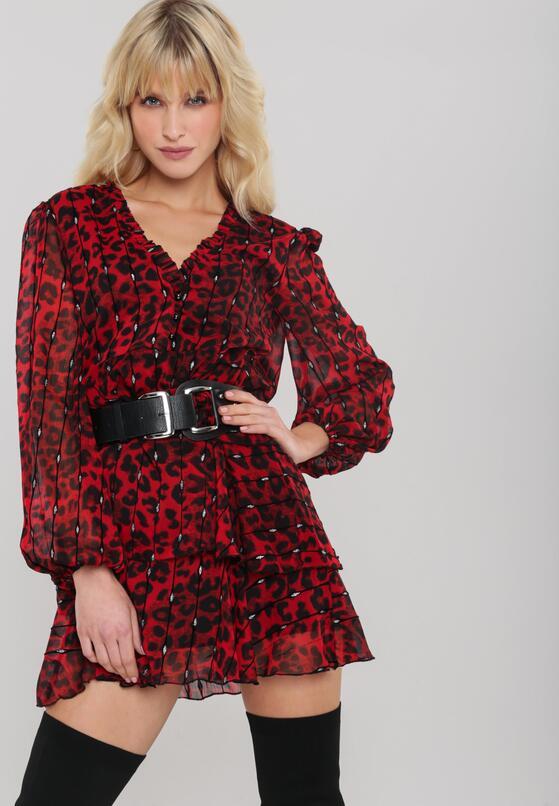 Червона Сукня з Леопардовим Принтом