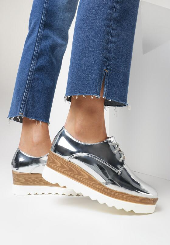 Серебряная Обувь на платформе