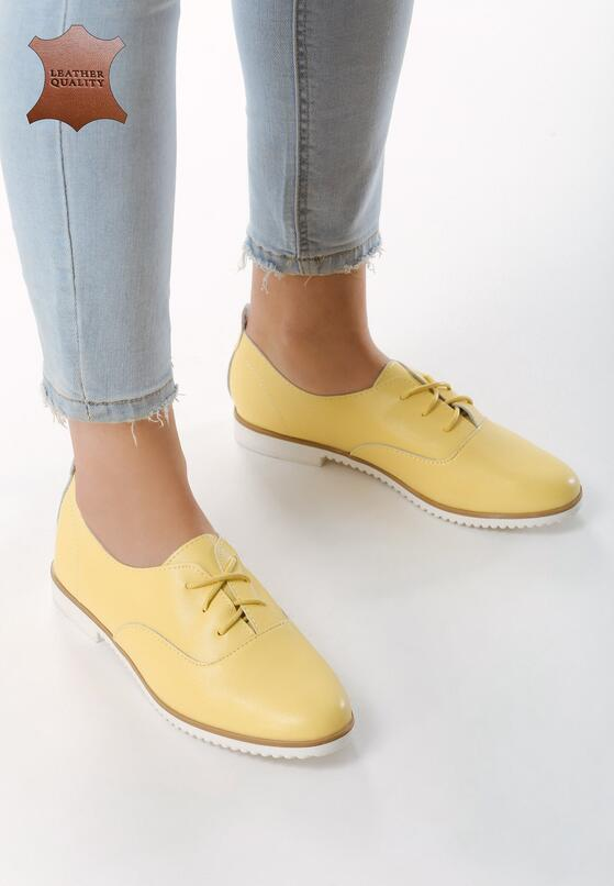 Желтые Кожаные Полуботинки